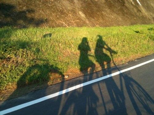 掰掰嘍!南瓜車,@景美單車道,臘腸狗號+南瓜車的剪影