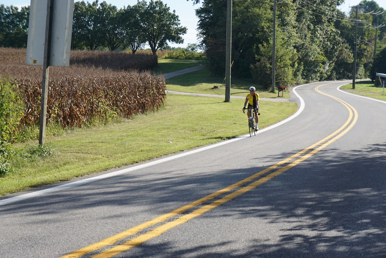 rider alone on country road