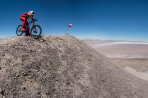 Markus Stockl prepares to ride at the Chilean Andes in Chile on december 13, 2016