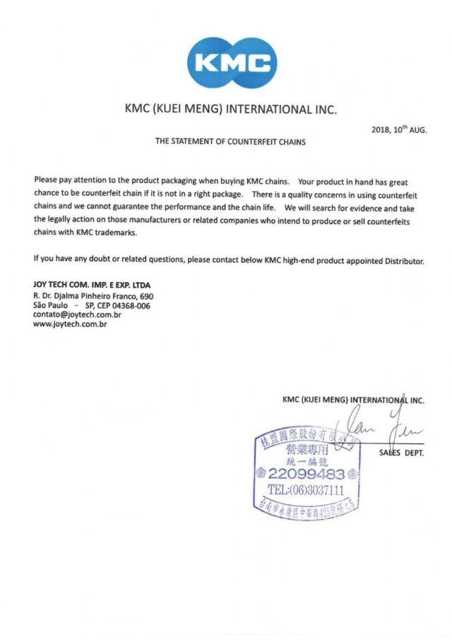 KMC alerta para correntes falsificadas a venda no Brasil (1)