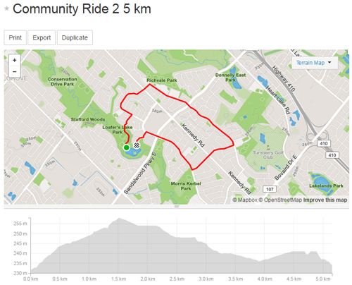 Community Ride 2 -5km Map