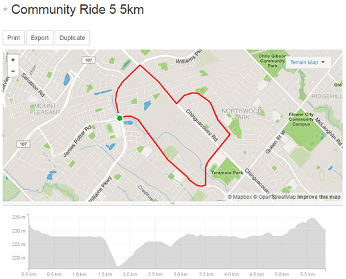 Community Ride 5 -5km Map