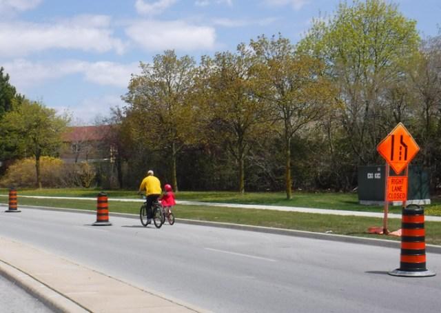 parent & child Vodden COVID bike lane