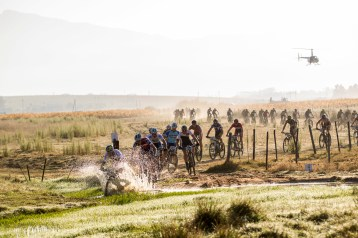 Karl PLatt of Team Bulls leads the group through some water during the final stage (stage 7) of the 2015 Absa Cape Epic Mountain Bike stage race from the Cape Peninsula University of Technology in Wellington to Meerendal Wine Estate in Durbanville, South Africa on the 22 March 2015 Photo by Nick Muzik/Cape Epic/SPORTZPICS PLEASE ENSURE THE APPROPRIATE CREDIT IS GIVEN TO THE PHOTOGRAPHER AND SPORTZPICS ALONG WITH THE ABSA CAPE EPIC