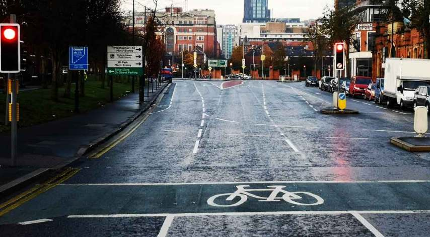 New markings on East Bridge Street approaching Cromac Street