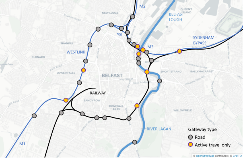 The limited gateways to Belfast city centre, each needing dedicate cycling space for the city cycling network to be viable