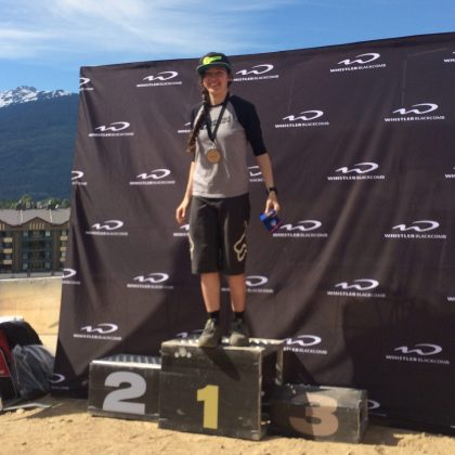 Standing on the podium alone.