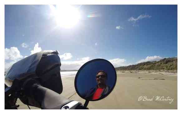Selfie while beach riding at Cloudy Bay, Bruny Island Tasmania