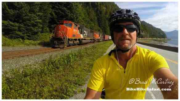 Cycling with sun and a tailwind I overtook this train. It was slowing down to a stop!