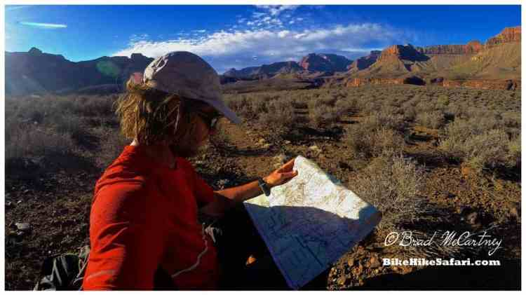 Checking the map back on the Tonto Trail, looking rather scruffy