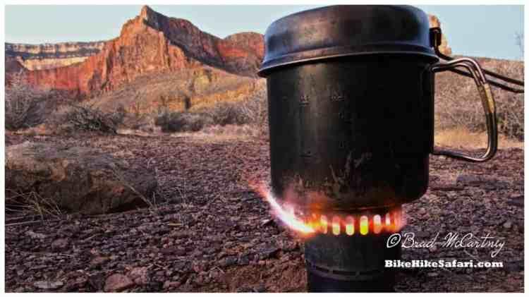 My Titanium alcohol stove making breakfast