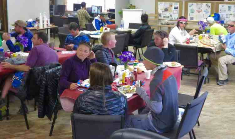 Hikers socialising and eating their second lunch!
