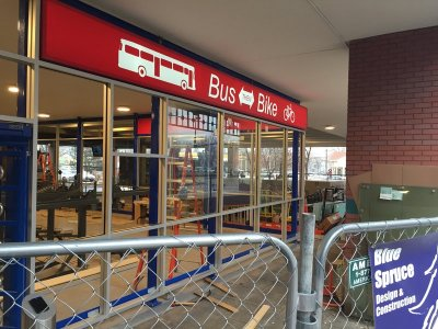 The new Bus-then-Bike shelter at The Boulder Transit Center in downtown Boulder.