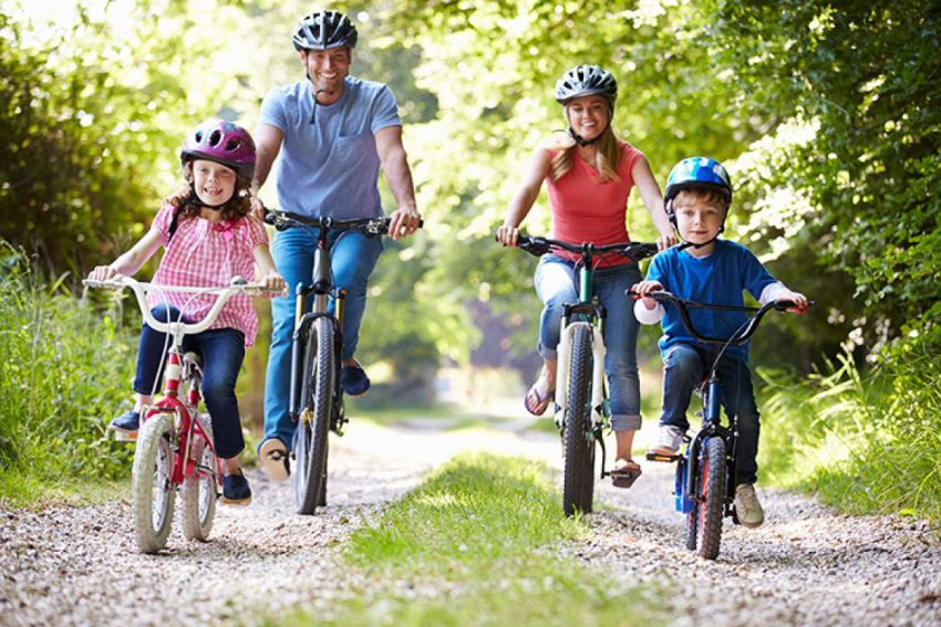 Cycling with happy family