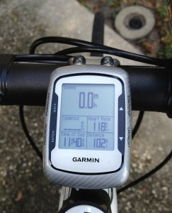 Jeff's Garmin Edge. Yeah, he recently did a century. But he says he's not bragging. (Click to embiggen.)