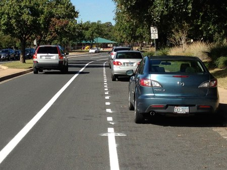 The new bike lane might be in the door zone, but there's still some room for bikes to miss doors.