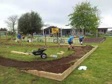 A pump track is forming..