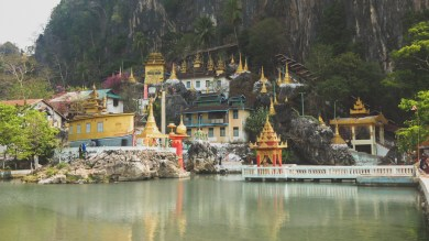Buddhist Temple with a hot pools, Kyaikto