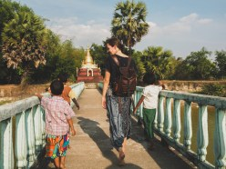 Adrianka and little friends, Snake Pagoda, Yangon