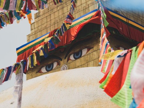 Boudhanath Stupa and Buddha's Eyes