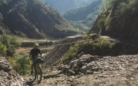 Jakub after crossing the suspention bridge. Tatopani, Nepal
