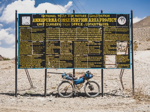 A sign in harsh enviroment of Lower Mustang Valley, Kagbeni, Nepal
