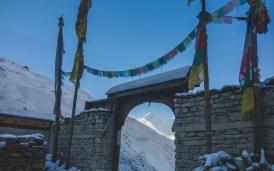 Gangnapurna from Thorong Pedi. Thorong Pedi, Nepal
