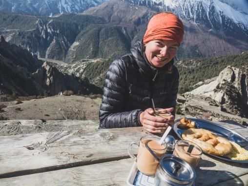 Tibetan breakfast. Gunsang, Nepal
