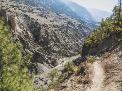 Trail back to Manang. Khangsar, Nepal