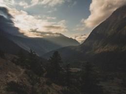 Sunrise above sacred mountain. Upper Pisang