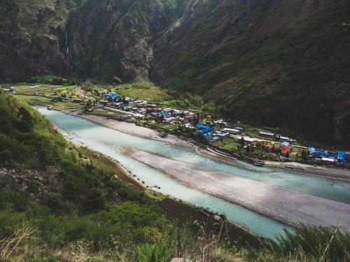 Vesnička Tak. Pisang Valley, Nepál