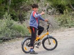 A Local biker. Pamir, Tajikistan