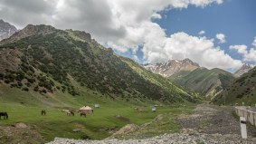 Yurts and mountains. Sary-Tash Area, Kyrgyzstan