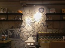 Uvnitř Veloedov Café. Almata, Kazachstán