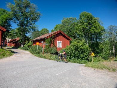 Finnis houses and steep hill. Near Helsinki, Finland