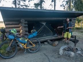 Camping in a laavu. Liperi, Finland