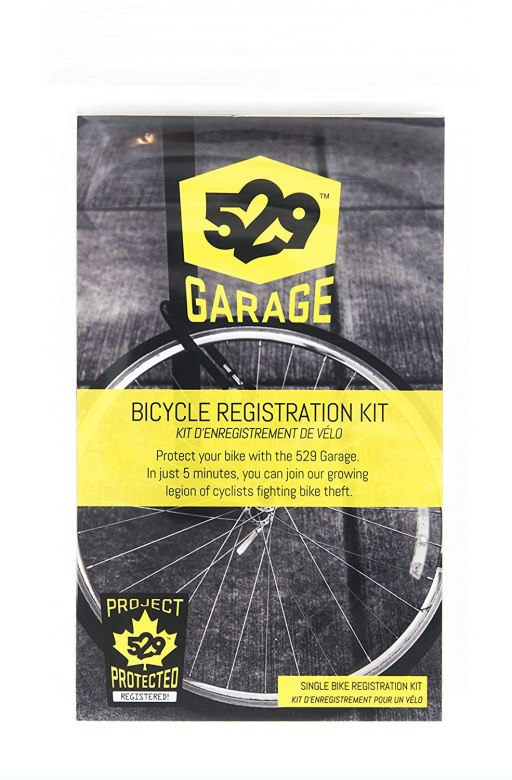 Product close-up of the 529 Garage bicycle registration kit.