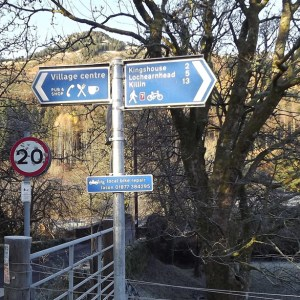 Bike Route signs in the Scottish Highlands