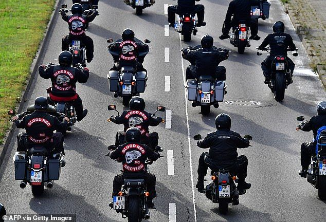 "Members of the ""Hells Angels"" motorcycle club ride their motorbikes in Germany, where here has been a crackdown on bikers."