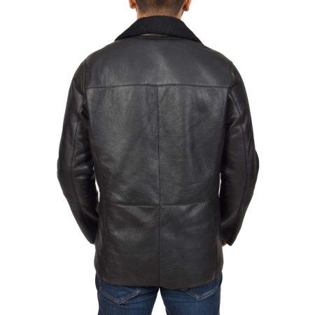 Men's Double Breasted Sheepskin Jacket Black