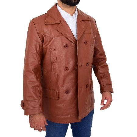 Men's Tan Double Breasted Leather Peacoat