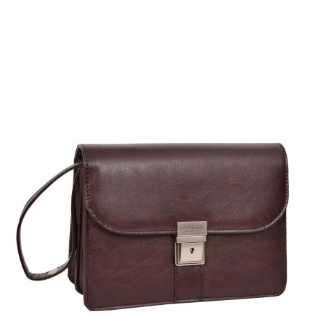 Lockable Leather Look Wrist Bag H10M Brown
