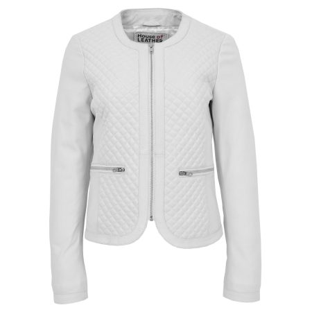 Womens Leather Collarless Jacket with Quilt Design Joan White