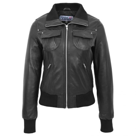 Women's Leather Classic Bomber Jacket Black