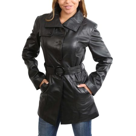 Women's Black Leather Trench Coat Belt