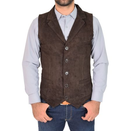 Mens Suede Buttoned Waistcoat Gilet Devin Brown