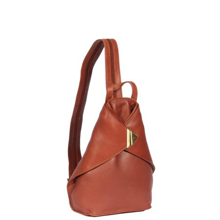 Small Travel Leather Backpack Brown