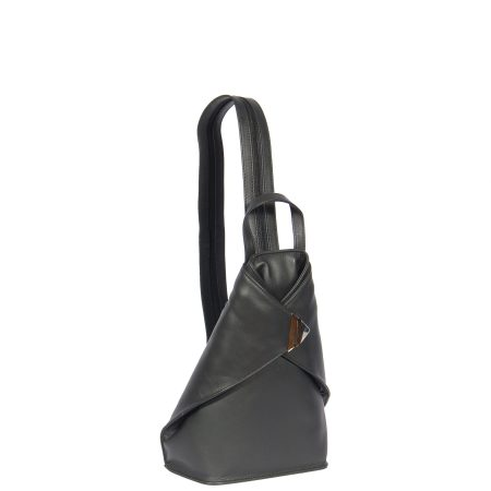 Small Travel Leather Backpack HOL259 Black