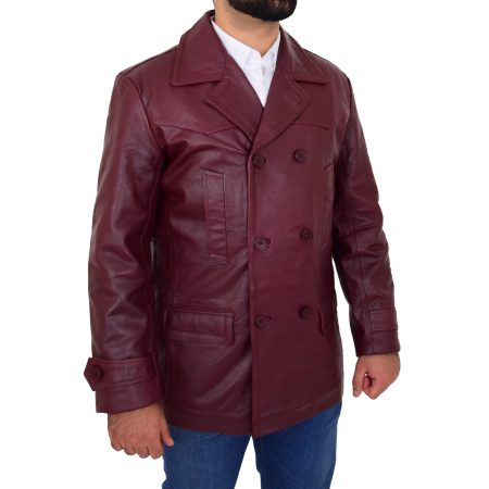 Men's Burgundy Double Breasted Peacoat