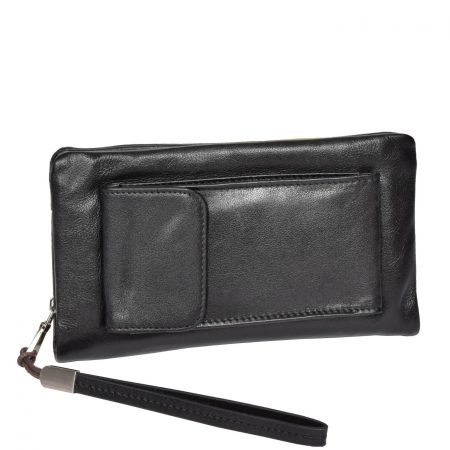 Real Leather Wristlet Phone Pouch H6049 Black For Women